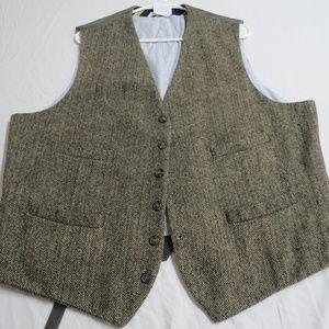 Sz XL Tan Herringbone Merona Mens #79E Suit Vest